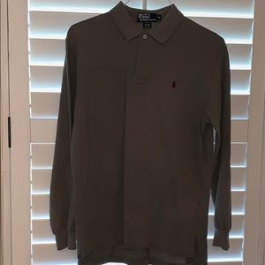 EUC dark gray long sleeve polo